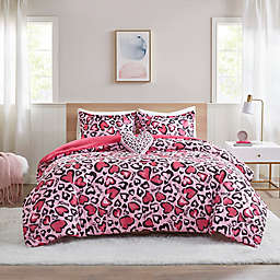 Mi Zone Sasha 4-Piece Hot Pink Animal Printed Full/Queen Comforter Set in Pink