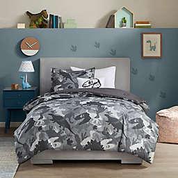 Mi Zone Kids Dylan Dino Camo Comforter Set in Grey