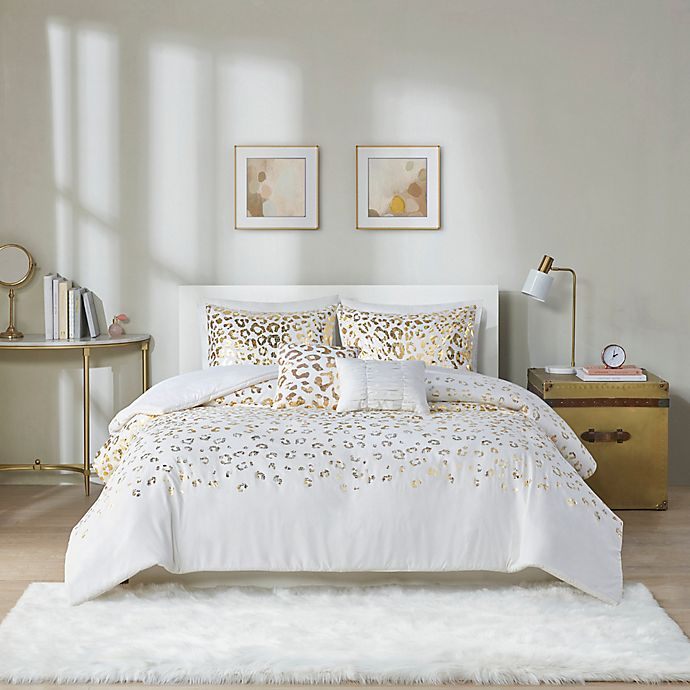 Alternate image 1 for Intelligent Design Lillie 4-Piece Twin/Twin XL Duvet Cover Set in Ivory/Gold
