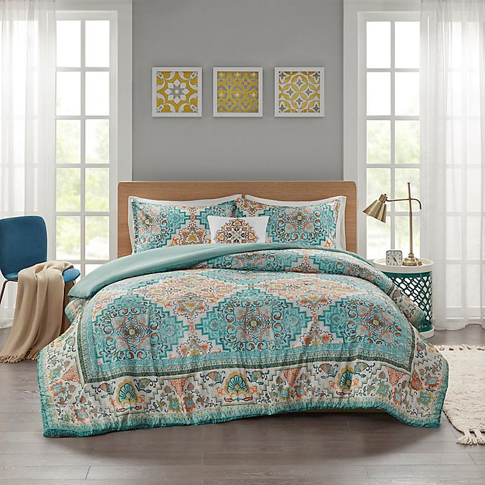 Alternate image 1 for Intelligent Design Deliah Seersucker Boho Printed Duvet Cover Set in Teal