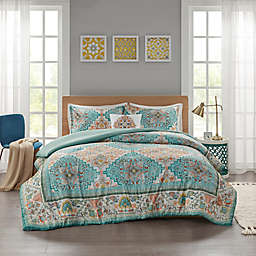 Intelligent Design Deliah Seersucker Boho Printed Duvet Cover Set in Teal