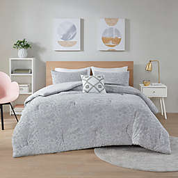 Intelligent Design Lane Jersey  3-Piece Twin/Twin XL Comforter Set in Grey