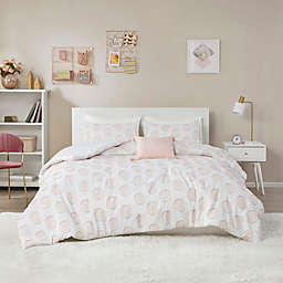 Intelligent Design Jennifer 3-Piece Clipped Jacquard Twin/Twin XL Duvet Cover Set in Blush