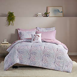 Intelligent Design Nisha 6-Piece Zebra Printed Twin XL Comforter and Sheet Set in Lavender