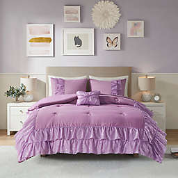Mi Zone Lexi 4-Piece Full/Queen Comforter Set With Mesh Waffle and Metallic Print in Purple