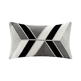INK+IVORY Aero Embroidered Oblong Throw Pillow in Charcoal