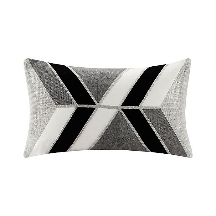Alternate image 1 for INK+IVORY Aero Embroidered Oblong Throw Pillow in Charcoal