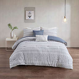 Urban Habitat Lizbeth Clip 5-Piece Comforter Set in White/Indigo