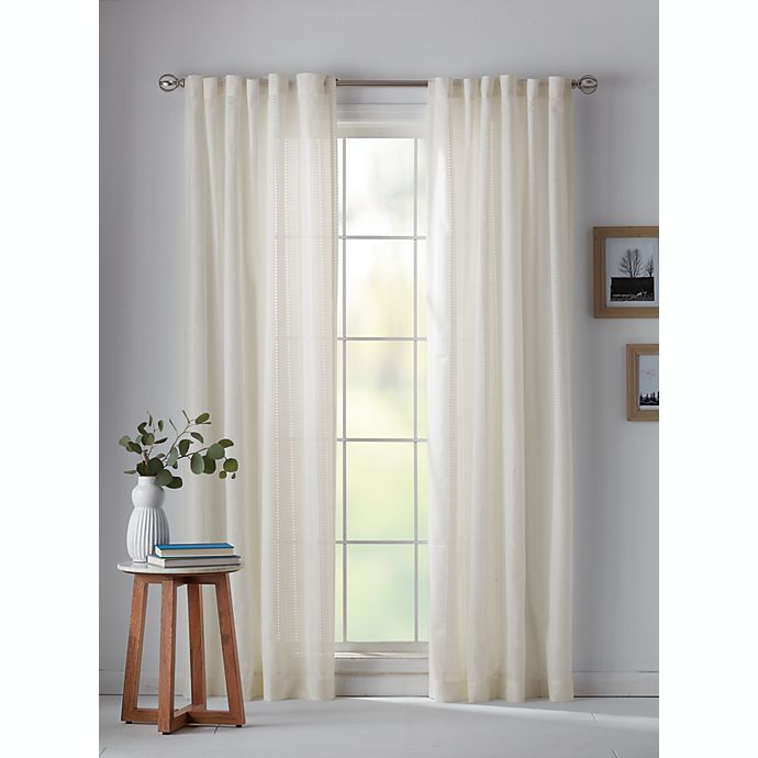 Alternate image 1 for Bee & Willow™ Eyelet Stripe Sheer Rod Pocket/Back Tab Window Curtain Panel (Single)