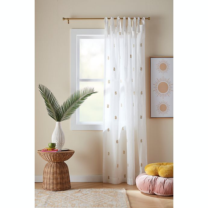 Alternate image 1 for Wild Sage™ Leslie Embroidered Tab Top Sheer Window Curtain Panel in Ivory