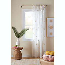 Wild Sage™ Leslie Embroidered Tab Top Sheer Window Curtain Panel in Ivory