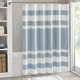 Madison Park 108-Inch x 72-Inch Spa Waffle Shower Curtain in Blue
