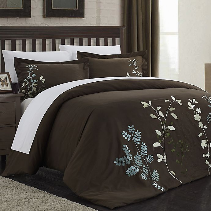 Alternate image 1 for Chic Home Kathy 7-Piece King Duvet Cover Set in Brown