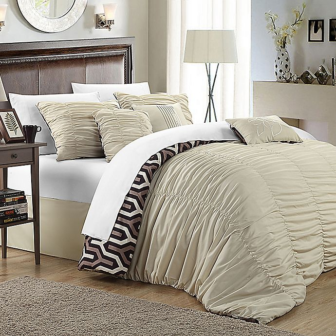 Alternate image 1 for Chic Home Emelia 3-Piece Reversible King Duvet Cover Set in Beige
