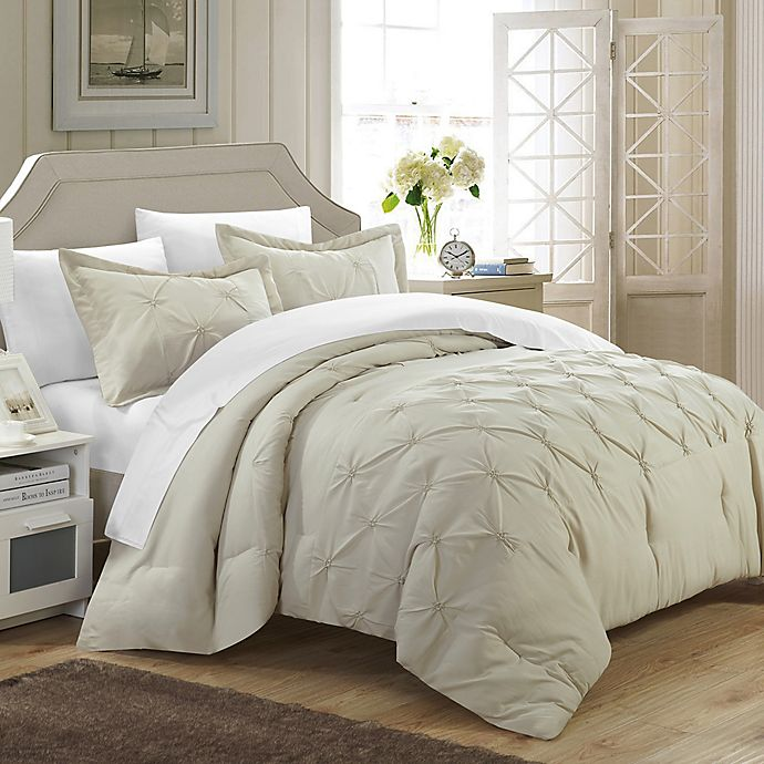 Alternate image 1 for Chic Home Nica 3-Piece King Duvet Cover Set in Beige