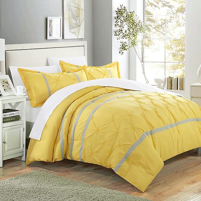 Alternate image 1 for Chic Home Nica 3-Piece Queen Duvet Cover Set in Yellow