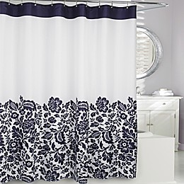 Moda at Home Bella Fabric Shower Curtain in Navy