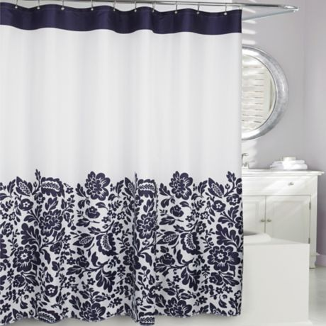 Moda At Home Bella Fabric Shower Curtain In Navy Bed