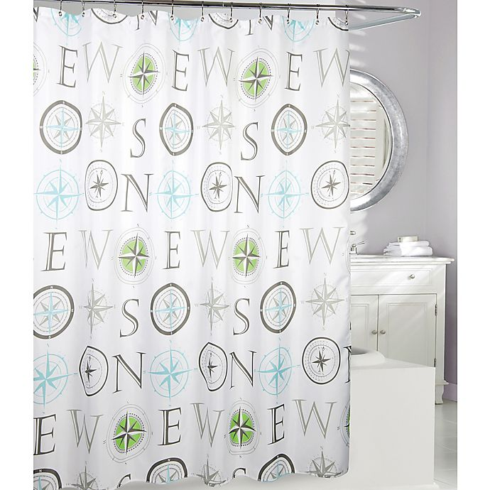 Moda At Home Compass Fabric Shower Curtain In Grey Lime