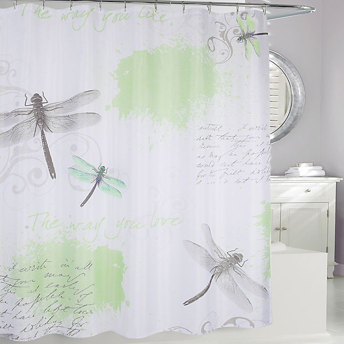 Alternate image 1 for Dragonfly Fabric Shower Curtain