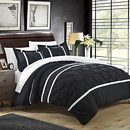 Chic Home Nica 7-Piece Queen Duvet Cover Set in Black