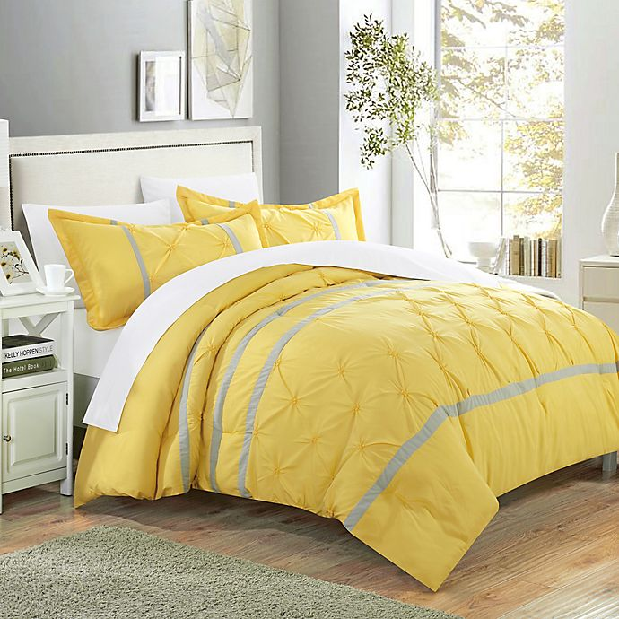 Alternate image 1 for Chic Home Nica 7-Piece Queen Duvet Cover Set in Yellow