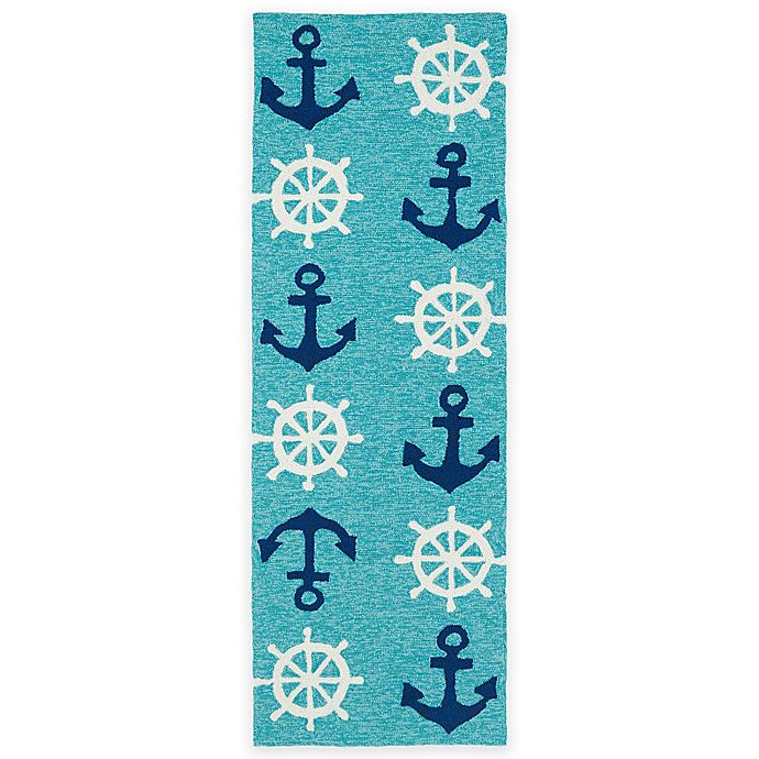 Alternate image 1 for Kaleen Sea Isle Nautical 2-Foot x 6-Foot Indoor/Outdoor Runner in Blue