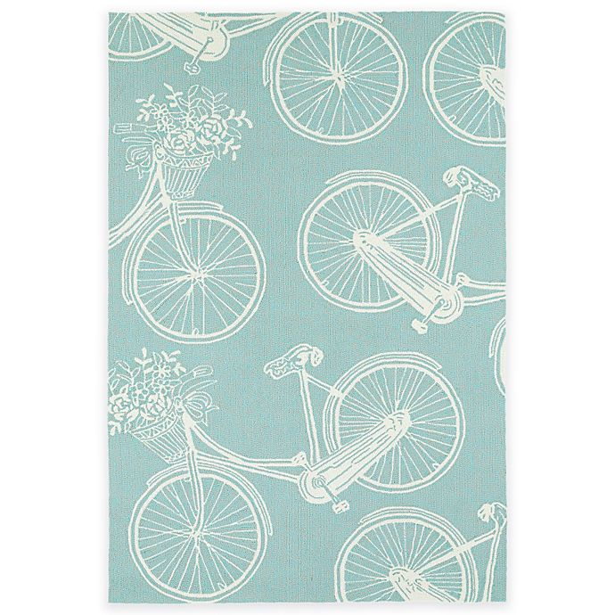 Alternate image 1 for Kaleen Sea Isle Bicycle 2-Foot x 3-Foot Indoor/Outdoor Accent Rug in Light Blue