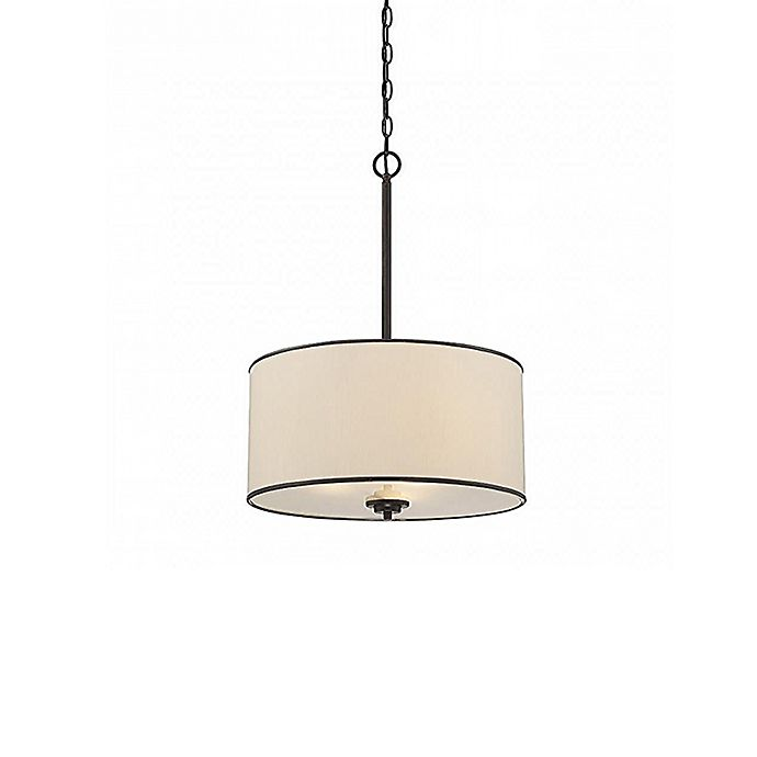 Alternate image 1 for Savoy House Grove 3-Light Pendant in Bronze with Fabric Drum Shade