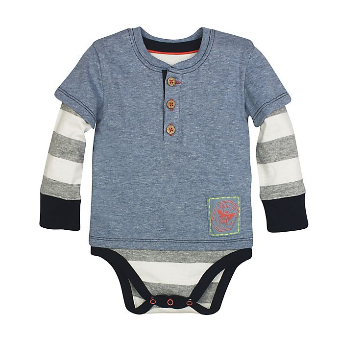 Burt S Bees Baby 174 Striped Henley Bodysuit In Blue Buybuy