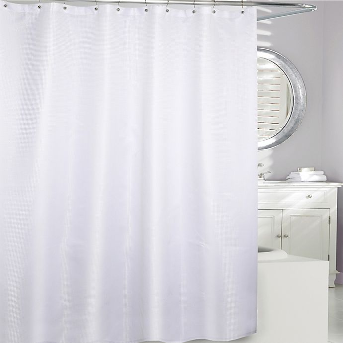 Moda At Home Waffle Fabric Shower Curtain In White