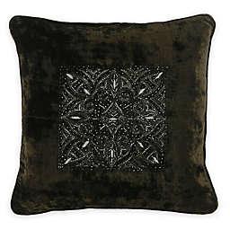 Bed Inc. Quinn Velvet Square Throw Pillow in Olive Green