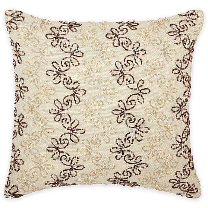 Alternate image 1 for Mina Victory Luminescence Floral Stripes Square Throw Pillow in Copper/Gold