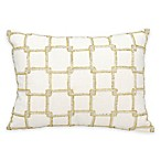 Mina Victory Luminescence Interlock Squares Rectangle Throw Pillow in White