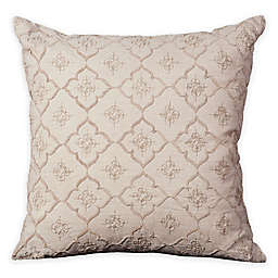 Mina Victory Luminescence Quatrefoil Square Throw Pillow in Natural