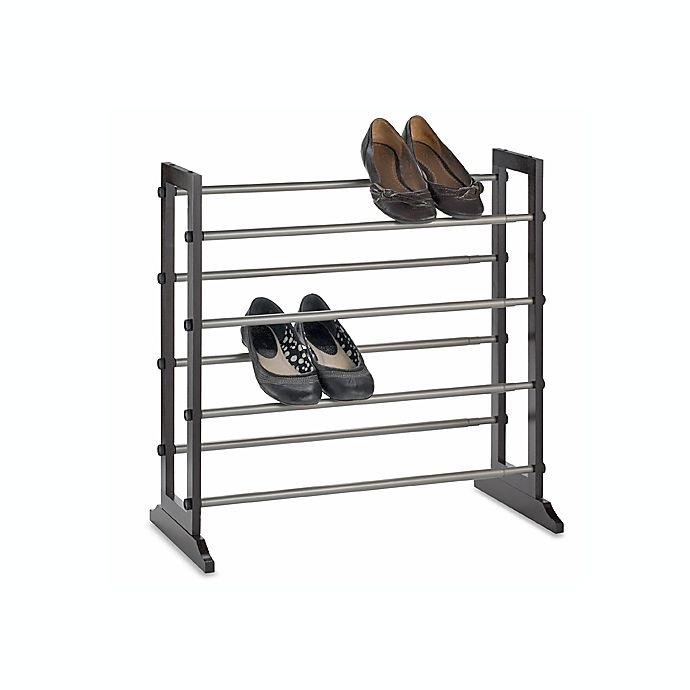 Alternate image 1 for 4-Tier Expandable Shoe Rack in Mahogany