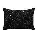 Mina Victory Luminescence Fully Beaded Rectangle Throw Pillow in Black
