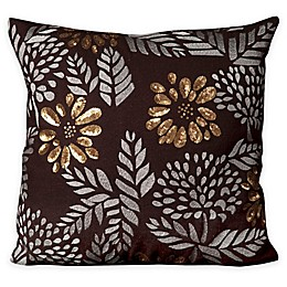Mina Victory Gold Flowers 20-Inch Square Throw Pillow Collection