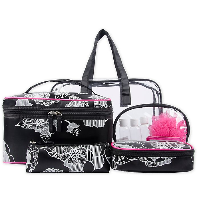 Alternate image 1 for Blockbuster 10-Piece Cosmetic Bag Set in Black and White Floral