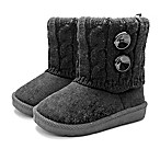 Stepping Stones Size 4 Toddler Faux Suede Button Sweater Boots in Black
