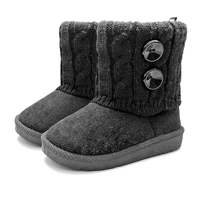 Alternate image 1 for Stepping Stones Toddler Faux Suede Button Sweater Boots in Black