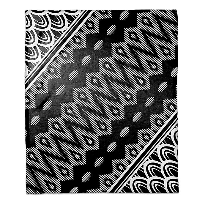 Alternate image 1 for Tribal Angle Printed Throw Blanket in Black/White