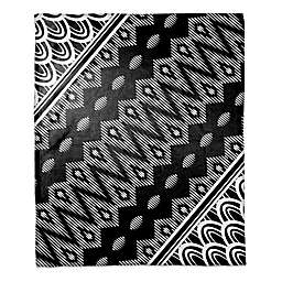 Tribal Angle Printed Throw Blanket in Black/White