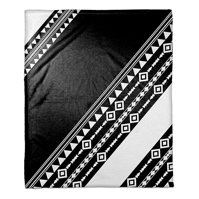 Alternate image 1 for Tribal Printed Color Block Throw Blanket in Black/White