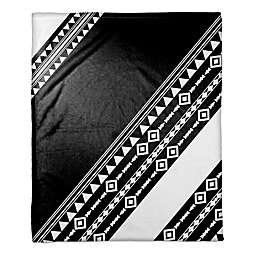 Tribal Printed Color Block Throw Blanket in Black/White