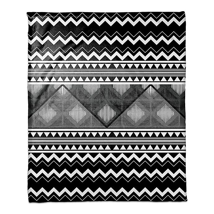 Alternate image 1 for Multi Trend Boho Tribal Throw Blanket in White/Black