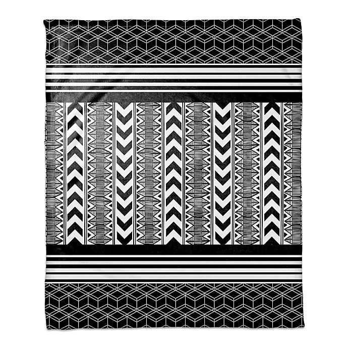 Alternate image 1 for Layered Tribal Print Throw Blanket in Black/White