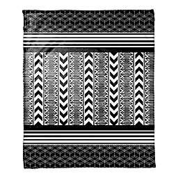 Layered Tribal Print Throw Blanket in Black/White