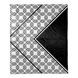 Asymmetrical Boho Tribal Throw Blanket in White/Black