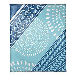 Boho Tribal Throw Blanket in Blue/White